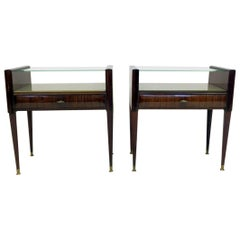 Pair of Midcentury 1950s Italian Bedside Tables in the Style of Paolo Buffa