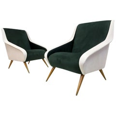 Pair of Midcentury 1950s Italian Velvet Armchairs in Green and White