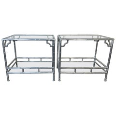 Pair of Mid Century 1960s Aluminum Faux Bamboo Side Tables with Glass Shelves