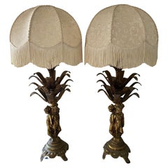 Pair of Mid Century 1960's French Brass Table Lamps 3 Graces Lady Figurines
