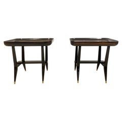 Pair of Midcentury 1960s Giuseppe Scapinelli Rosewood and Marble Tables