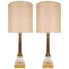 Pair of Midcentury 24-Karat Gold and Translucent Crystal Table Lamps by Baccarat