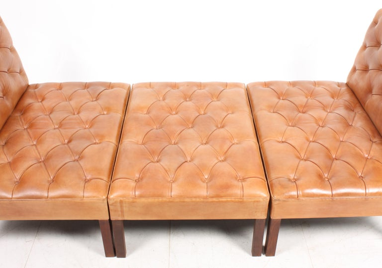 Pair of Midcentury Addition Sofas with Matching Bench by Kaare Klint, 1960s For Sale 3