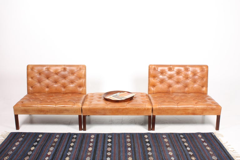 Pair of Midcentury Addition Sofas with Matching Bench by Kaare Klint, 1960s For Sale 5