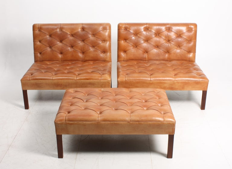 Pair of Midcentury Addition Sofas with Matching Bench by Kaare Klint, 1960s In Excellent Condition For Sale In Lejre, DK