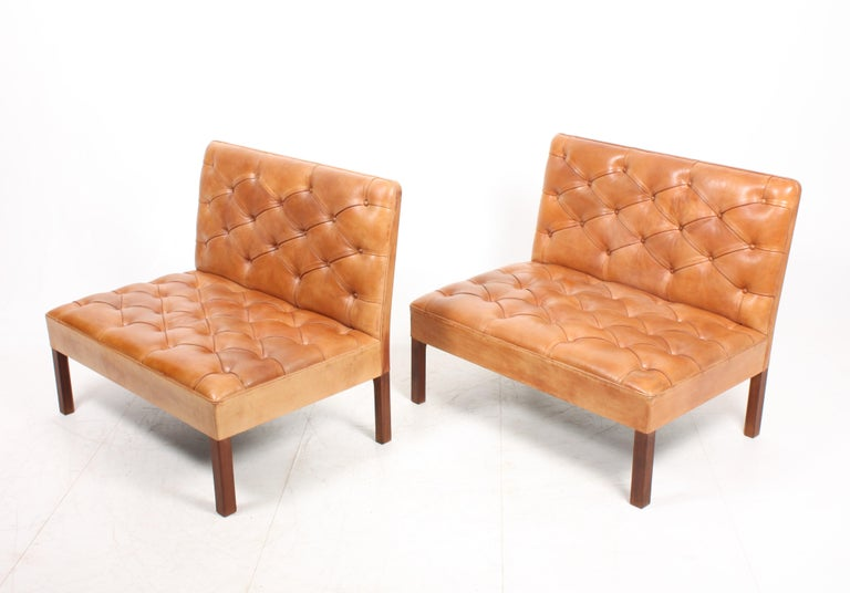 Mid-20th Century Pair of Midcentury Addition Sofas with Matching Bench by Kaare Klint, 1960s For Sale