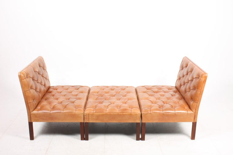 Pair of Midcentury Addition Sofas with Matching Bench by Kaare Klint, 1960s For Sale 2