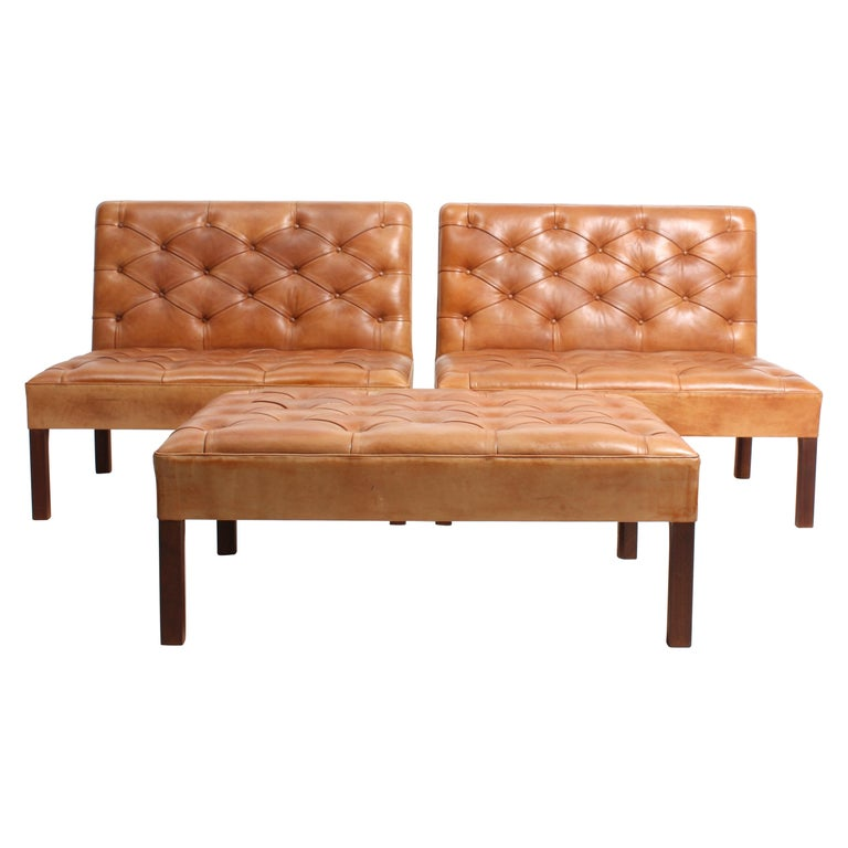 Pair of Midcentury Addition Sofas with Matching Bench by Kaare Klint, 1960s For Sale