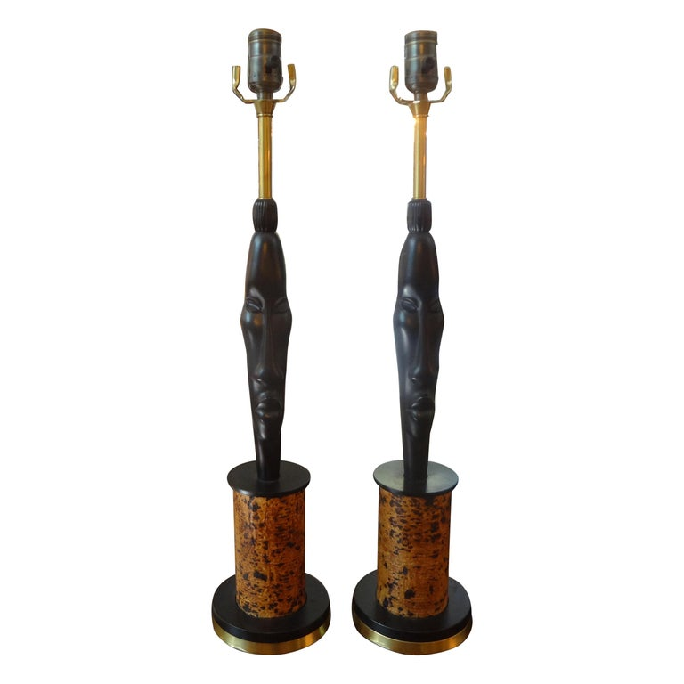Pair of Mid Century African Inspired Modernist Lamps For Sale