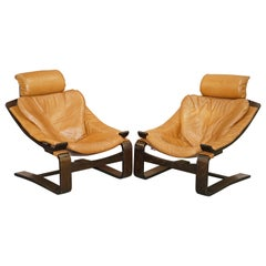 Pair of Midcentury Ake Fribytter Cognac Leather Nelo Mobel Sewdish Armchairs