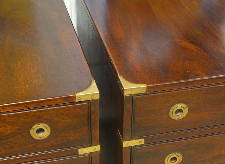 20th Century Pair of Midcentury Mahogany Campaign Style Three Drawer Chests w. Brass Accents For Sale
