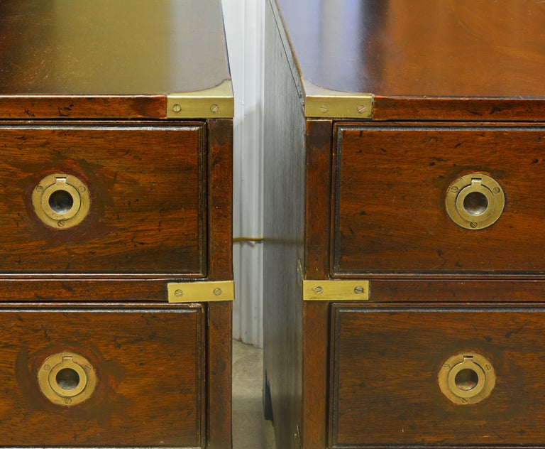Pair of Midcentury Mahogany Campaign Style Three Drawer Chests w. Brass Accents For Sale 1
