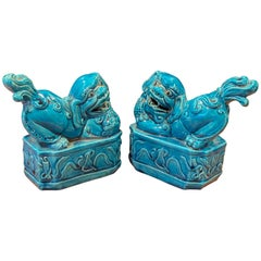 Pair of Mid-Century Aqua Ceramic Foo Dogs / Bookends