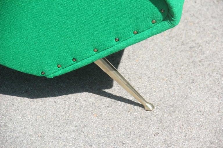 901e743165ab8 Mid-Century Modern Pair of Midcentury Armchairs Aldo Morbelli Green Brass  Gold Feat Geometric Shape