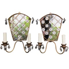 Pair of Mid-20th Century Art Deco Style Mirrored, Crystal and Metal Sconces