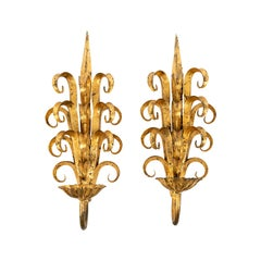 Pair of Midcentury Art Deco Style Wall Sconces from Italy