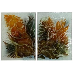 Pair of Midcentury Art Glass Wall Hanging
