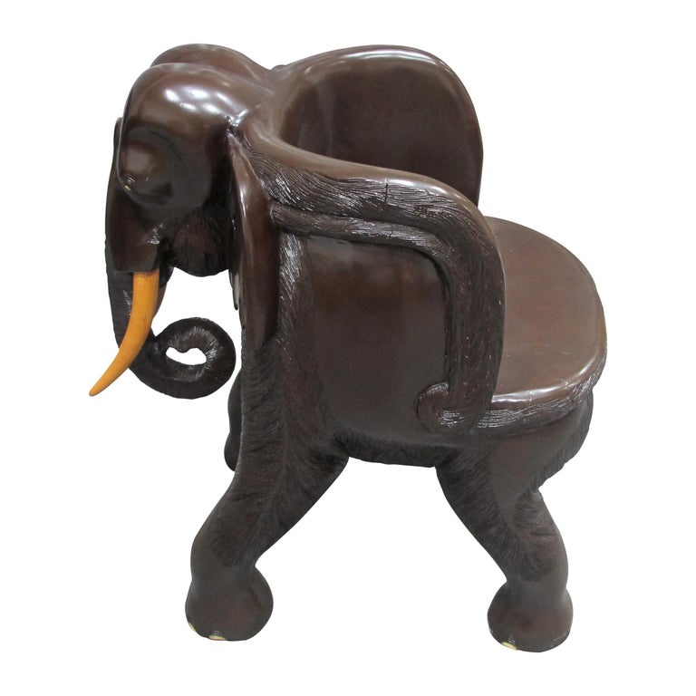 Anglo-Indian Pair of Midcentury Balinese Hand Carved Hardwood Elephant Chairs For Sale