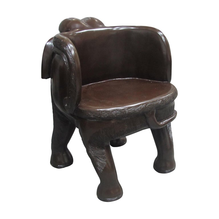 20th Century Pair of Midcentury Balinese Hand Carved Hardwood Elephant Chairs For Sale