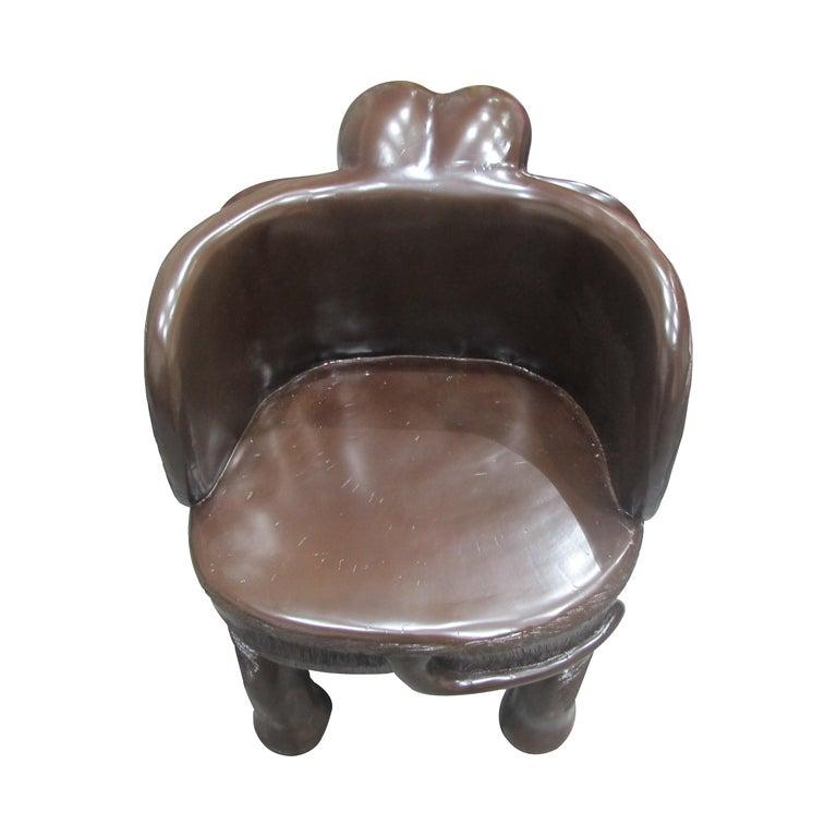 Wood Pair of Midcentury Balinese Hand Carved Hardwood Elephant Chairs For Sale
