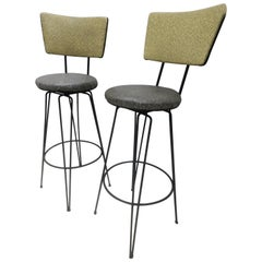 Pair of Midcentury Bar Counter Stools with Hairpin Iron Legs