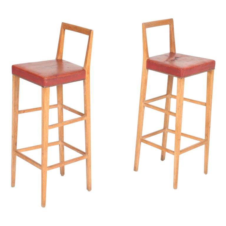 Pair of Midcentury Bar Stools in Oak Made by Danish Cabinetmaker, 1950s