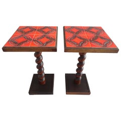 Pair of Midcentury Bedside Side End Tables with Tiles, Vallauris