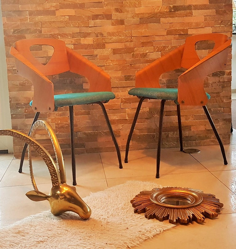 Pair of Midcentury Bentwood Chairs Carlo Ratti for Legni Curvi, Italy, 1950s For Sale 10