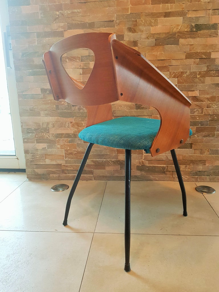 Mid-Century Modern Pair of Midcentury Bentwood Chairs Carlo Ratti for Legni Curvi, Italy, 1950s For Sale