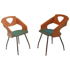 Pair of Midcentury Bentwood Chairs Carlo Ratti for Legni Curvi, Italy, 1950s
