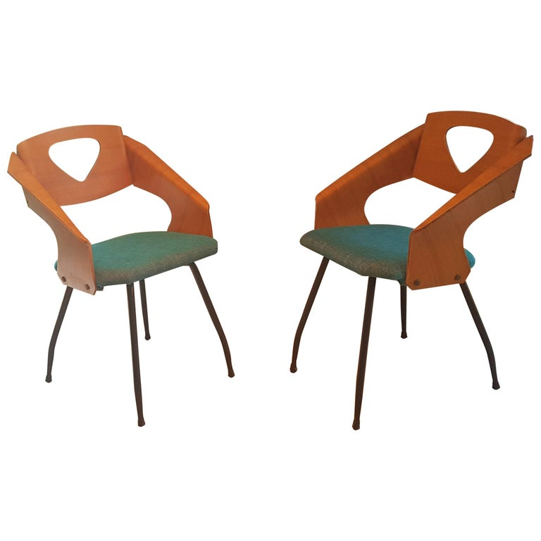 Pair of Midcentury Bentwood Chairs Carlo Ratti for Legni Curvi, Italy, 1950s For Sale