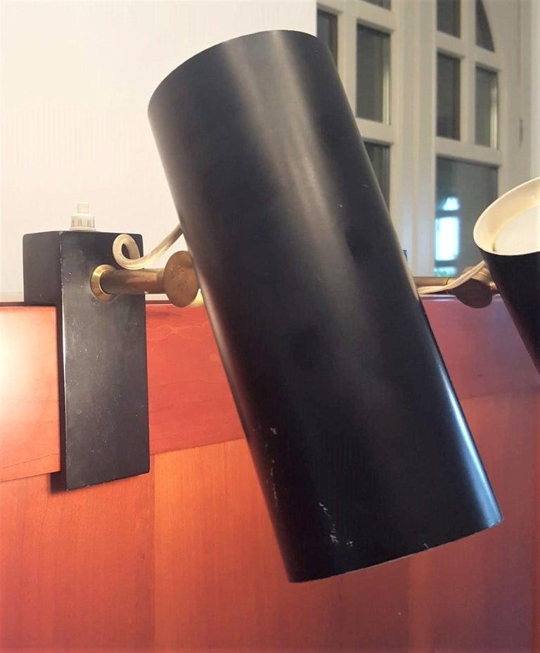 Mid-Century Modern Pair of Midcentury Black Adjustable Stilnovo Lamps Marked Stilnovo, Italy, 1950 For Sale