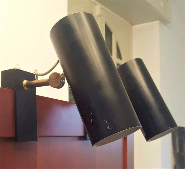Italian Pair of Midcentury Black Adjustable Stilnovo Lamps Marked Stilnovo, Italy, 1950 For Sale