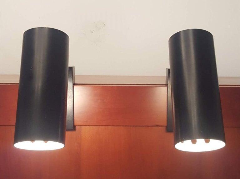 Lacquered Pair of Midcentury Black Adjustable Stilnovo Lamps Marked Stilnovo, Italy, 1950 For Sale