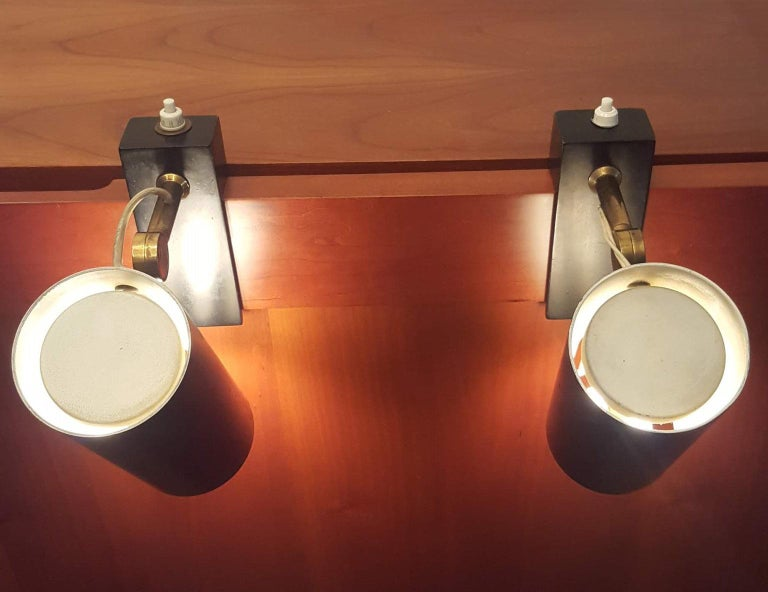 Pair of Midcentury Black Adjustable Stilnovo Lamps Marked Stilnovo, Italy, 1950 In Good Condition For Sale In Milano, IT