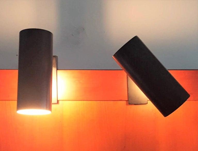Metal Pair of Midcentury Black Adjustable Stilnovo Lamps Marked Stilnovo, Italy, 1950 For Sale