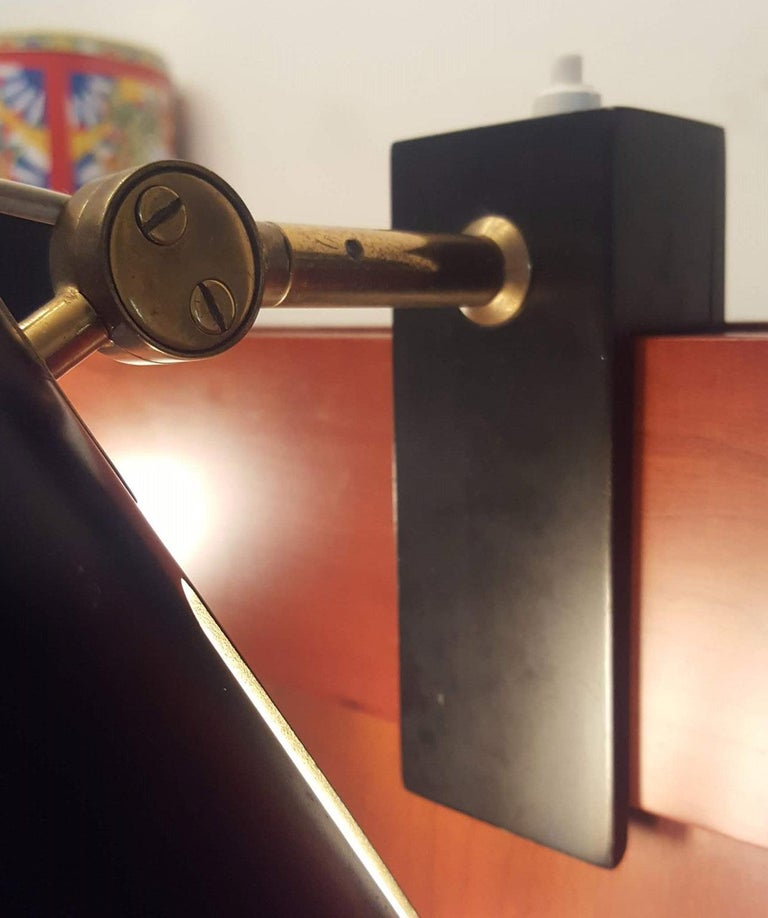 Pair of Midcentury Black Adjustable Stilnovo Lamps Marked Stilnovo, Italy, 1950 For Sale 1