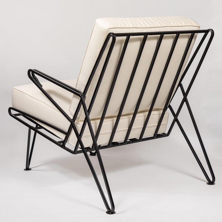 Pair of Midcentury Black Iron Lounge Chairs In Excellent Condition For Sale In Pasadena, CA