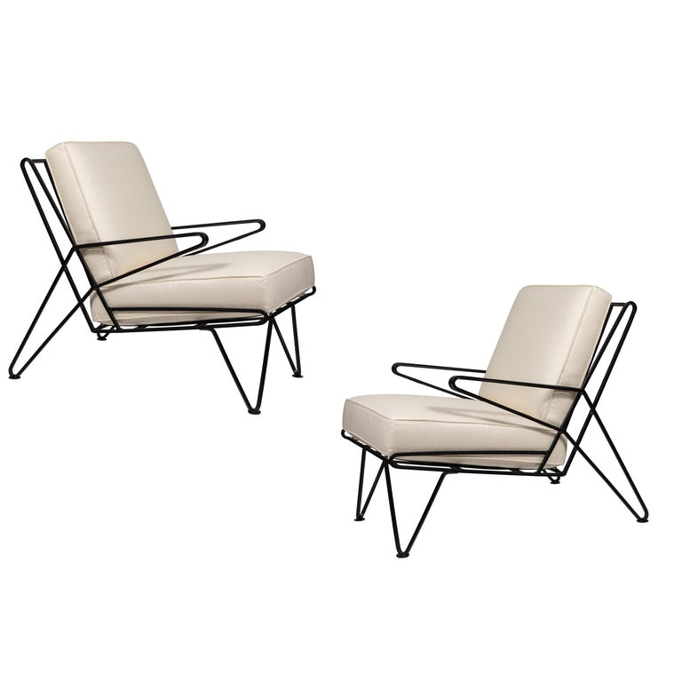 Pair of Midcentury Black Iron Lounge Chairs For Sale
