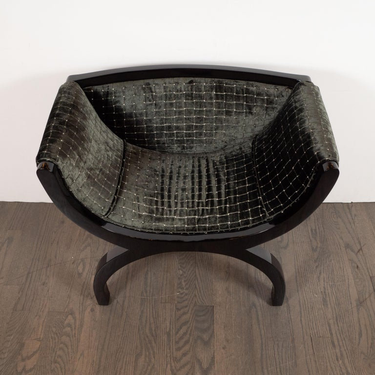 French Pair of Midcentury Black Lacquer Demilune Benches in Smoked Olive Slate Velvet For Sale