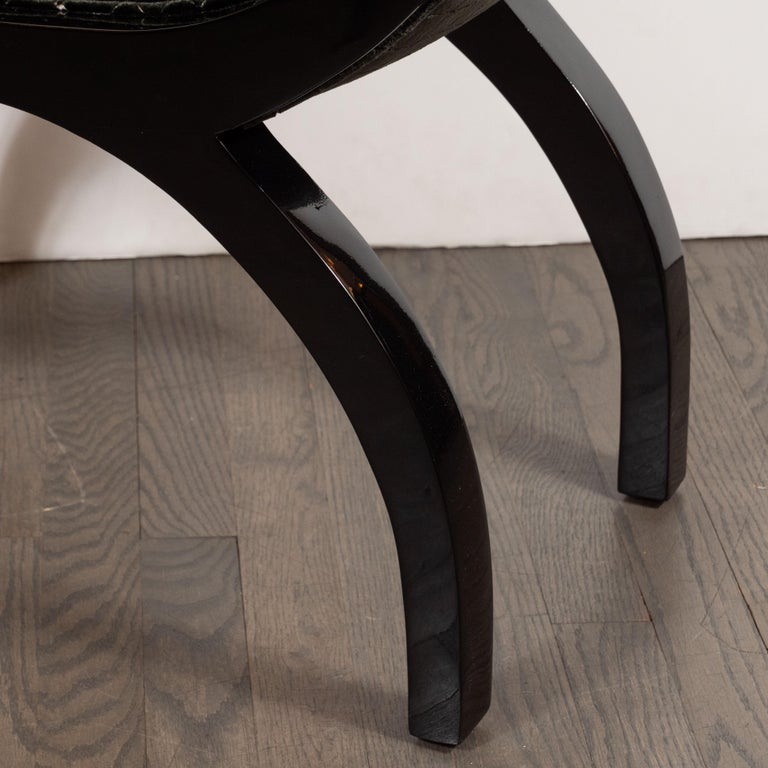 Mid-20th Century Pair of Midcentury Black Lacquer Demilune Benches in Smoked Olive Slate Velvet For Sale