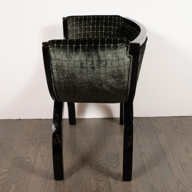 Pair of Midcentury Black Lacquer Demilune Benches in Smoked Olive Slate Velvet For Sale 1