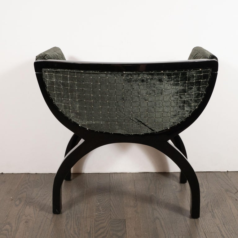 Pair of Midcentury Black Lacquer Demilune Benches in Smoked Olive Slate Velvet For Sale 2