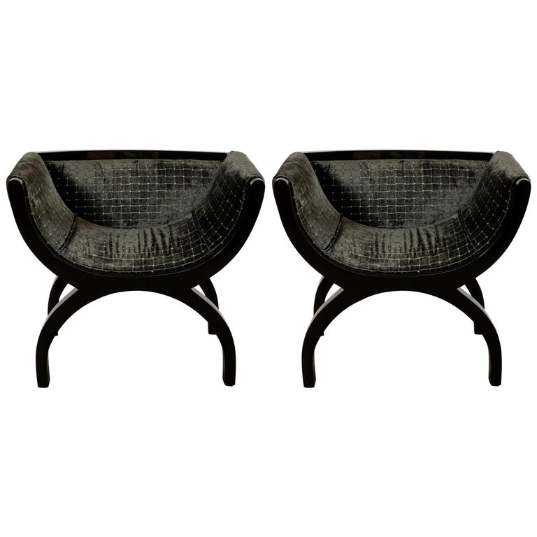 Pair of Midcentury Black Lacquer Demilune Benches in Smoked Olive Slate Velvet For Sale