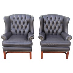 Pair of Midcentury Black Leather Wing Chair