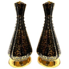 Pair of Mid Century Black Porcelain Lamps