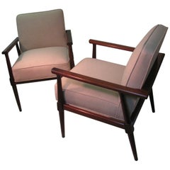 Pair of Mid Century Modern Black Walnut  Lounge Armchairs, 1957