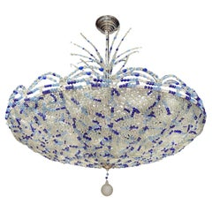 Pair of Mid Century Blue Beaded Chandeliers, Sold Individually