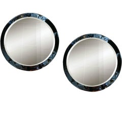 Pair of Mid-Century Blue Mirrors