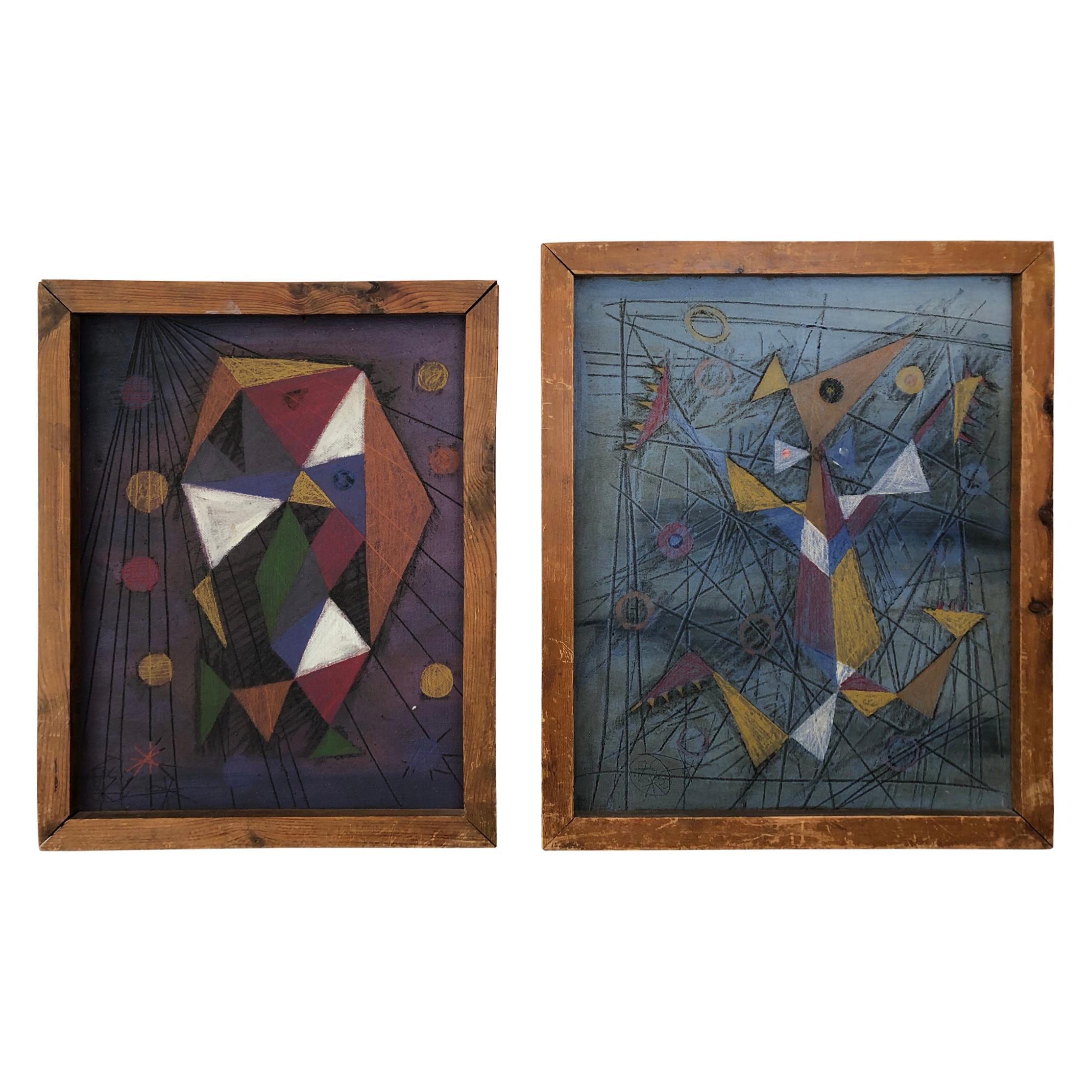 Pair of Midcentury Board Painting, 1953